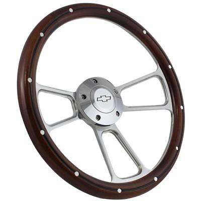 1969 -1973 Chevelle Steering Wheel Real Wood, Billet Includes Chevy Horn/Adap...