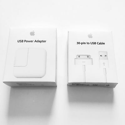 OEM Original 12W USB Power adapter Charger for Apple iPad iPhone + 30 Pin Cable