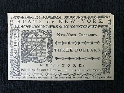 1776 Three Pence Dollars New York Colonial Currency Note Souvenir Festival Barge