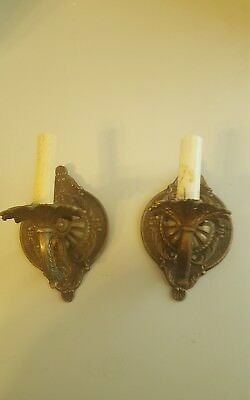 Pair Vintage Brass Candle Stick Style Electric Wall Sconces lights