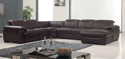 ESF 2146 MODERN Dark Brown Genuine Leather Sectional Sofa ...