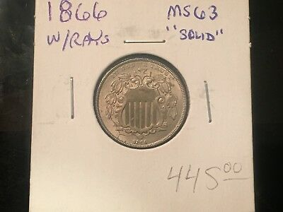 "1866 5C Rays Shield Nickel - BU Coin ""Solid"" - Listing at 65% off book value!"