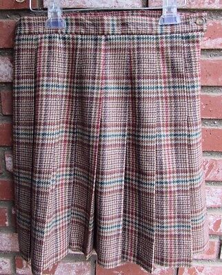 b779152e8d L.L. BEAN WOMEN'S Size 12 Long Green Plaid Wool Polyester Blend ...