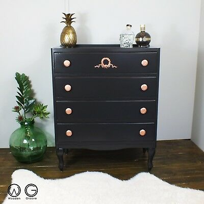 Painted French baroque rococo Louis XV Louis style chest of drawers black copper