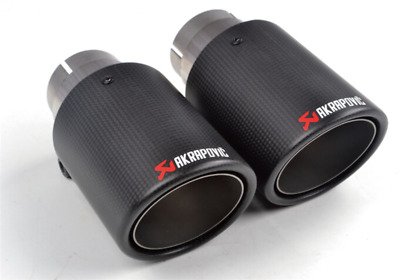 """1 X IN 2.0"""" 51MM OUT: 3.5"""" 89MM AKRAPOVIC Exhaust Tip Muffler Pipe Carbon Fiber"""