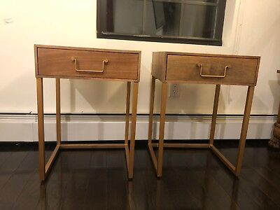 "A pair of side tables in wood & gold 16"" W x 14.5""D x 22.5""H"