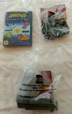 1995 Burger King Kids' Club Toys NIP Gargoyles Set of 3: Book, Goliath, Broadway