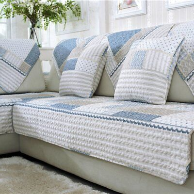 Modern Sofa Seats Mat Cotton Non-Slip Cover Printed Quilted Mat 70*150cm E0