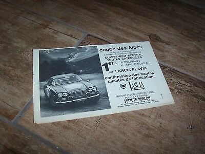 Publicité magazine /  Advertising AD  LANCIA Flavia Zagato 1965 //