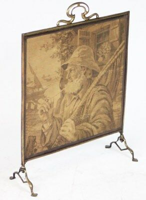 Art Nouveau Brass Tapestry Fire Screen - FREE Shipping [PL1302]