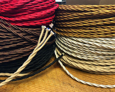 20' Twisted 3-Wire Cloth Covered Cord, 18ga. Vintage Lamps Antique Lights, fans