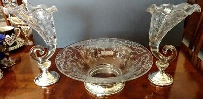 CAMBRIDGE Etched Center Bowl w-Two Cornucopia Fluted Vases-Sterling Silver Bases
