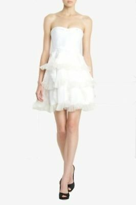 36844d9e3f186 BCBG MAX AZRIA RUNWAY Strapless Cocktail ivory ruffle mini dress 0 ...