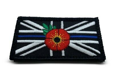 Thin Blue Line Poppy Police - Union Jack VELCRO backed patch (UK Badge insignia)