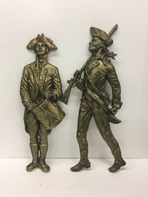 "Vintage Heavy Solid Cast Brass Pair Of 19"" Drummer & Soldier Scott Products Nj"
