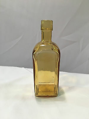"Wheaton Glass Paneled Front & Back 5 3/4"" Amber or Gold Bottle"