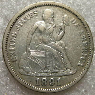 1891 Seated Liberty Dime AU