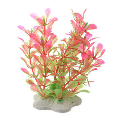 Pink Green Artificial Water Plants for Fish Tank Aquarium Decoration Ornam S8C4