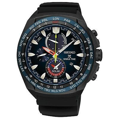 958d454c0 Seiko Men's 44mm Black Silicone Band Steel Case Solar Analog Watch SSC551P1
