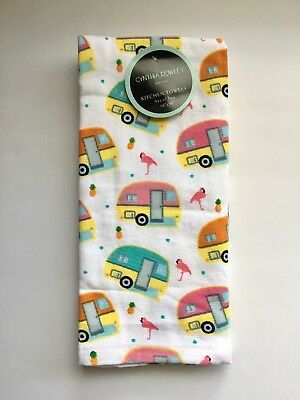 Set Of 2 Cynthia Rowley Kitchen Towels Retro Campers, Flamingos, Pineapples  NEW