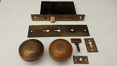 ANTIQUE c.1880 VINTAGE signed VICTORIAN EASTLAKE BRONZE BRASS DOOR LOCK KNOB SET