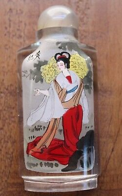Oriental Asian Glass Reverse Painting Geisha Floral Snuff/Perfume Bottle #3