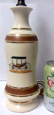 Vtg Table LAMP  Antique CARRIAGES COACHES Dude Gentleman CHIC