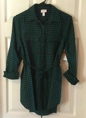 aad6ddfd961 Ingrid & Isabel Maternity Long Sleeve Green Black Plaid Tunic Shirt with  Tie NWT