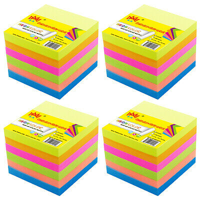 4A Self-Stick Pop-up Note Memo Reminder 3'' x 3'' Neon Assorted Total 600 Sheets