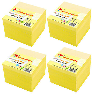 4A Sticky Notes Memo Reminder 3'' x 3'' Canary Yellow 6 Pads Total 600 Sheets
