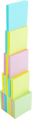 4A Sticky Note Memo Reminder 3'' x 3'' Pastel Assorted 18 Pads Total 1800 Sheets