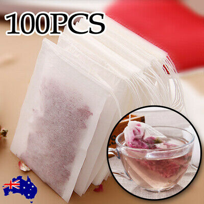 100x Tea Bags Empty String Heal Seal Filter Paper Herb Loose Food Grade Teabags