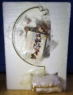RARE NEW Cherished Teddies - Bear Angel Hanging Ornament With Stand - 271543