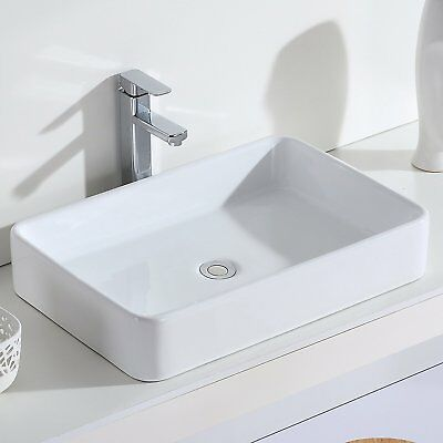 ERIDANUS Nevada Counter Top Wash Basin Rectangular Bathroom Cloakroom Sink,White