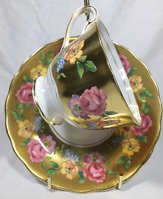 Royal Chelsea Heavy Gold CUP & SAUCER SET with Pink and Yellow Roses #4946A