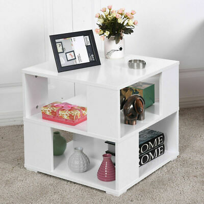 MODERN WOOD SQUARE Coffee End Side Table With Storage Cube Shelves - Square coffee table with storage cubes