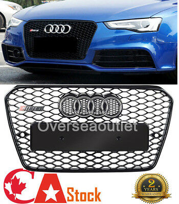 For Honeycomb Center Grill Gloss Black Grille RS5 Style Fit Audi A5 S5 2013-16