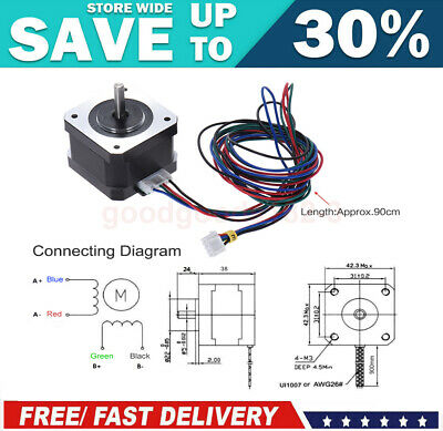 Nema 17 Stepper Motor 40Ncm 0.9A 4-Lead 90cm Lead Cable for DIY 3D Printer CNC