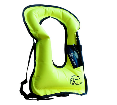 Rrtizan Unisex Adult Portable Inflatable Canvas Life Jacket Snorkel Vest Safety