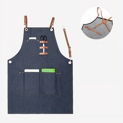 4 Styles Unisex Denim Work Apron with Adjustable Leather Strap and Pockets