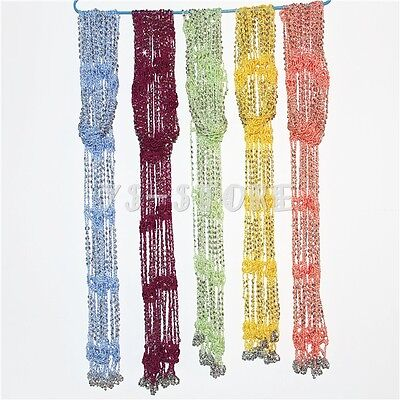 Handmade Women Girl Crocheted Bling Rhinestone Beads Knitted Scarf Colorful New