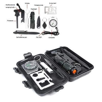 Compact 10-in-1 Survival Kit, Multi-Purpose EDC Outdoor Emergency Stealth Angel
