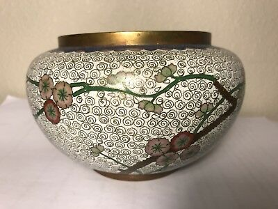Chinese antique cloisonne large pot 5.5 inches wide