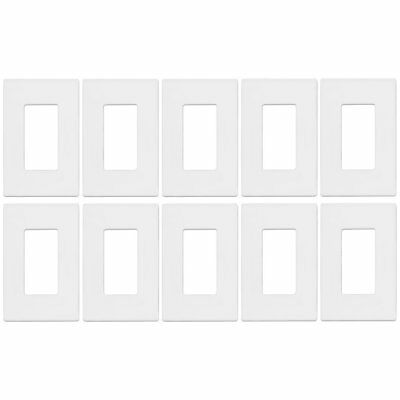 Unbreakable Screwless Decorator Outlet / Switch Wall Plate Cover - 1 Gang (10pc)