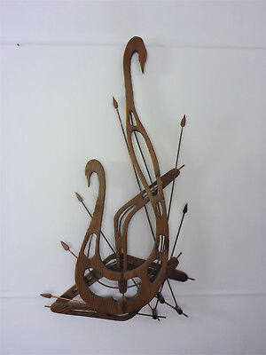 VINTAGE Mid Century :: 1950s Stylised Swan Timber & Copper Wall Hanging :: RETRO