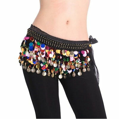 Dancing Coin Chain Sequin Belly Dance Hip Skirt Scarf Wrap Belt Waistband AZ
