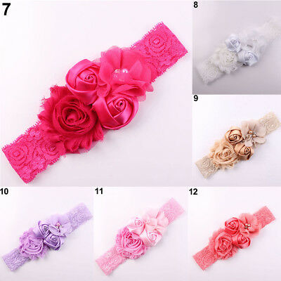 Lace Flower Rose Bead Hairband Newborn Baby Headband Hair Accessory Proper