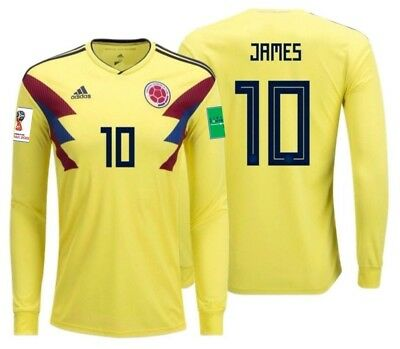 low priced 54a3a 1a8af ADIDAS JAMES RODRIGUEZ Colombia Long Sleeve Home Jersey World Cup 2018 Ptch