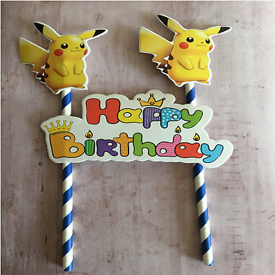 Remarkable Pikachu Pokemon Flag Cake Topper Birthday Party 2 49 Picclick Uk Funny Birthday Cards Online Eattedamsfinfo