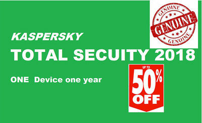 Kaspersky Total Security 2018 | 1 Device | 1 Year | PC/Mac/Android | Download